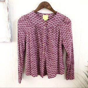 Anthro Maeve Button Purple Print Top